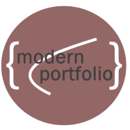 Modern Portfolio API logo with words modern portfolio in white font inside maroon circle with white efficient frontier in background